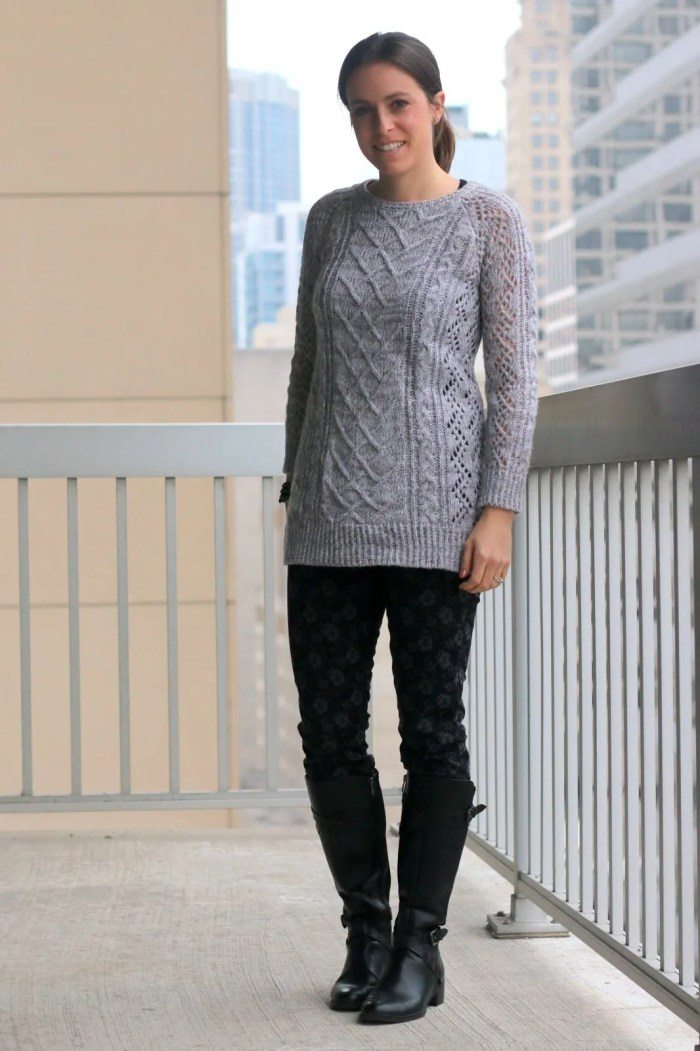 FashionablyEmployed.com | black floral jeans with gray sweater and black boots | casual style for weekends
