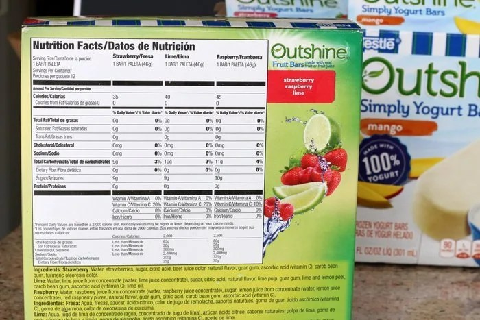 Nutritional label Outshine Fruit Bars