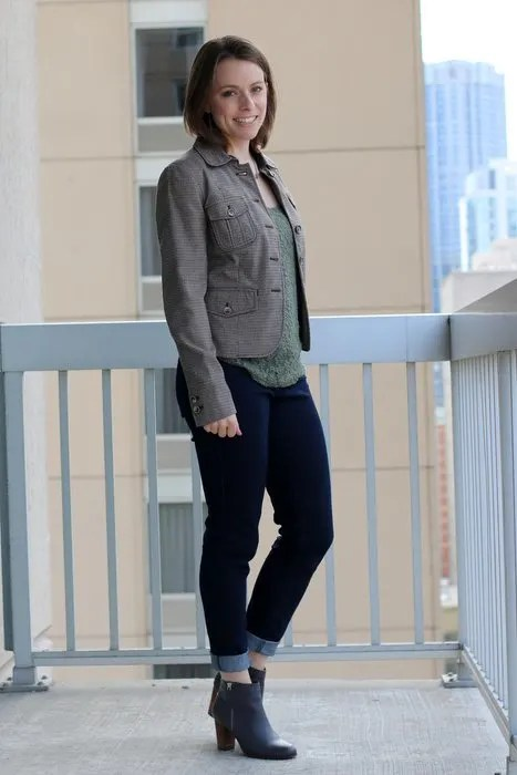 FashionablyEmployed.com | Office to After Hours Work Party Style | Blazer to Moto Jacket, jeans, olive lace tank, and gray Cole Haan boots | wear to work, office style, casual outfit, happy hour attire
