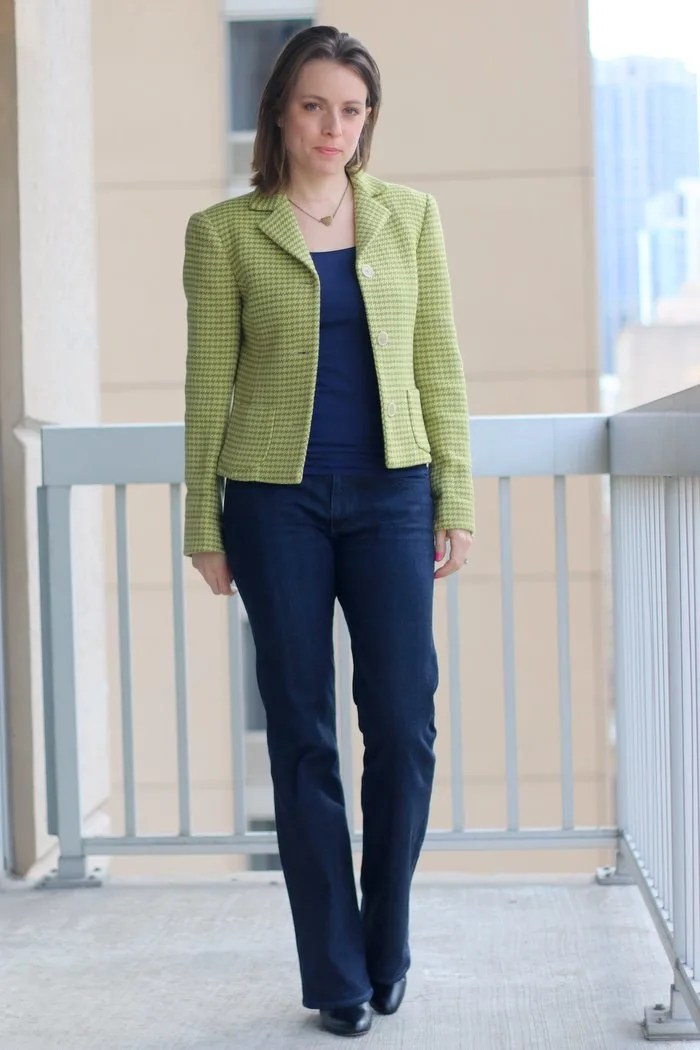 FashionablyEmployed.com | thrifted blazer and jeans with boots, casual Friday outfit for office, work style