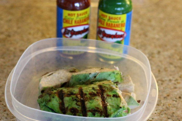 FashionablyEmployed.com   Want a quick and easy idea for summer fare from the farmer's market to your grill? Try a salad with marinated chicken. Opt for a spicy marinade instead of salad dressing for an even lighter option.