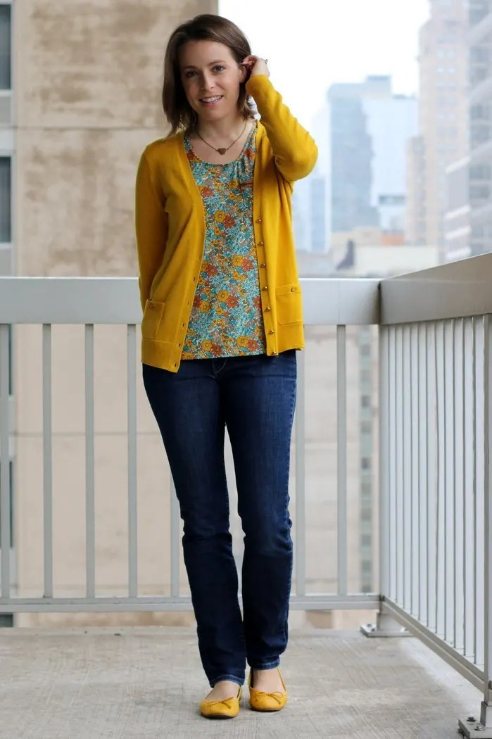FashionablyEmployed.com | Floral thrifted blouse with mustard cardigan, jeans and mustard flats