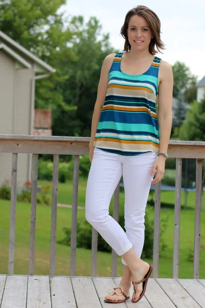 FashionablyEmployed.com | White jeans and stripes with sandals, casual summer outfit | Working mom blog for busy moms long on ambition and short on time | Career, family, style and self | Casual summer style