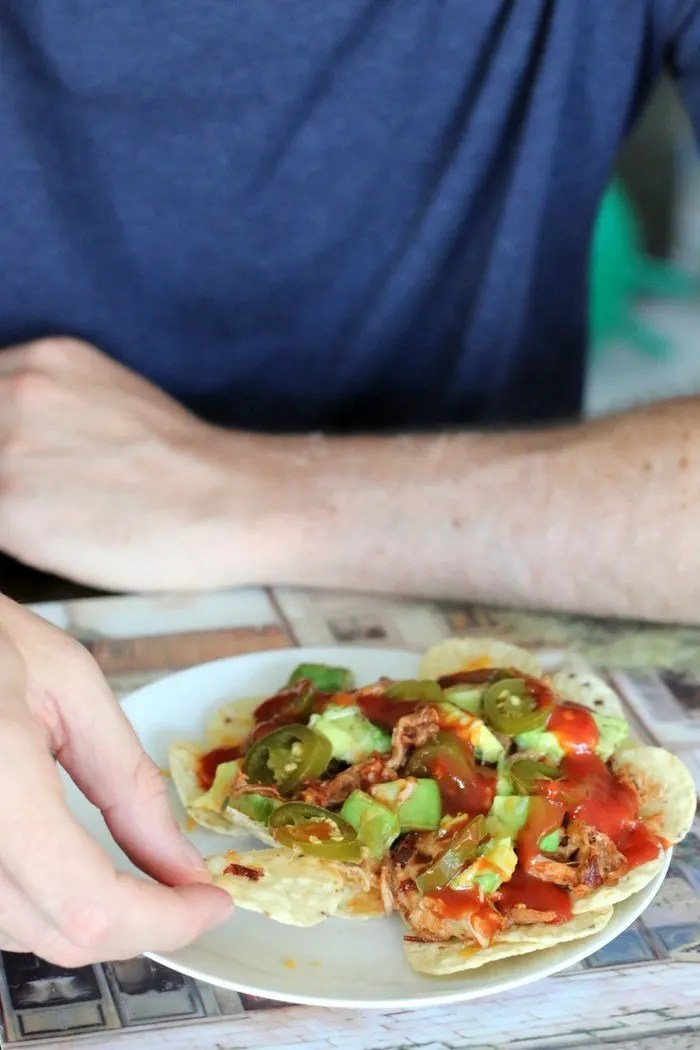 FashionablyEmployed.com | Chipotle BBQ Pulled Pork Nachos | easy family recipe with a bit of kick, great for an afternoon snack, light lunch or party appetizer | working mom blog for women long on ambition and short on time