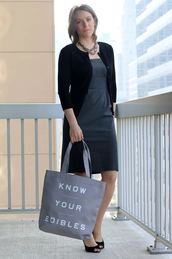 FashionablyEmployed.com | An update on socially conscious shopping from a working mom with style and lifestyle blog looking to leave a bit fewer leftovers in her aftermath. | Gray dress with black cardigan and gray canvas bag, black pumps | Wear to work, office style, work outfit