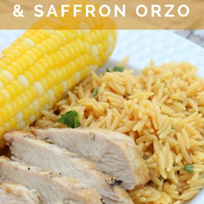 Grilled Chicken with Saffron Orzo