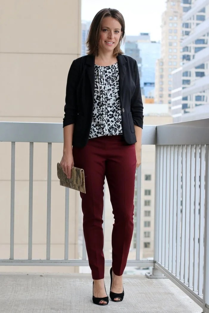 FashionablyEmployed.com | Simple, chic style for the everyday professional woman | Black blazer over black and white patterned blouse with burgundy pants and black heels | perfect for fall wear to work, office style for women