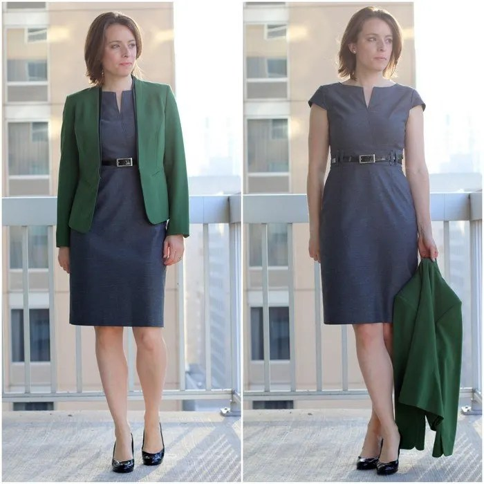 FashionablyEmployed.com | Simple and sustainable style for everyday professional women | Gray thrifted JCrew dress with olive blazer and black open toe heels | wear to work style, office outfit idea