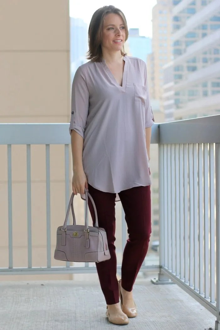FashionablyEmployed.com | Simple and sustainable work wear for everyday professional women | Blush blouse with maroon pants, nude shoes and blush bag | wear to work, office style outfit
