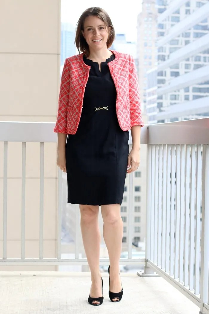 FashionablyEmployed.com | Simple and sustainable style for everyday professional women | Black sheath dress with cropped structured jacket / blazer from Oak73 and black heels | Made in the USA, wear to work, office style outfit