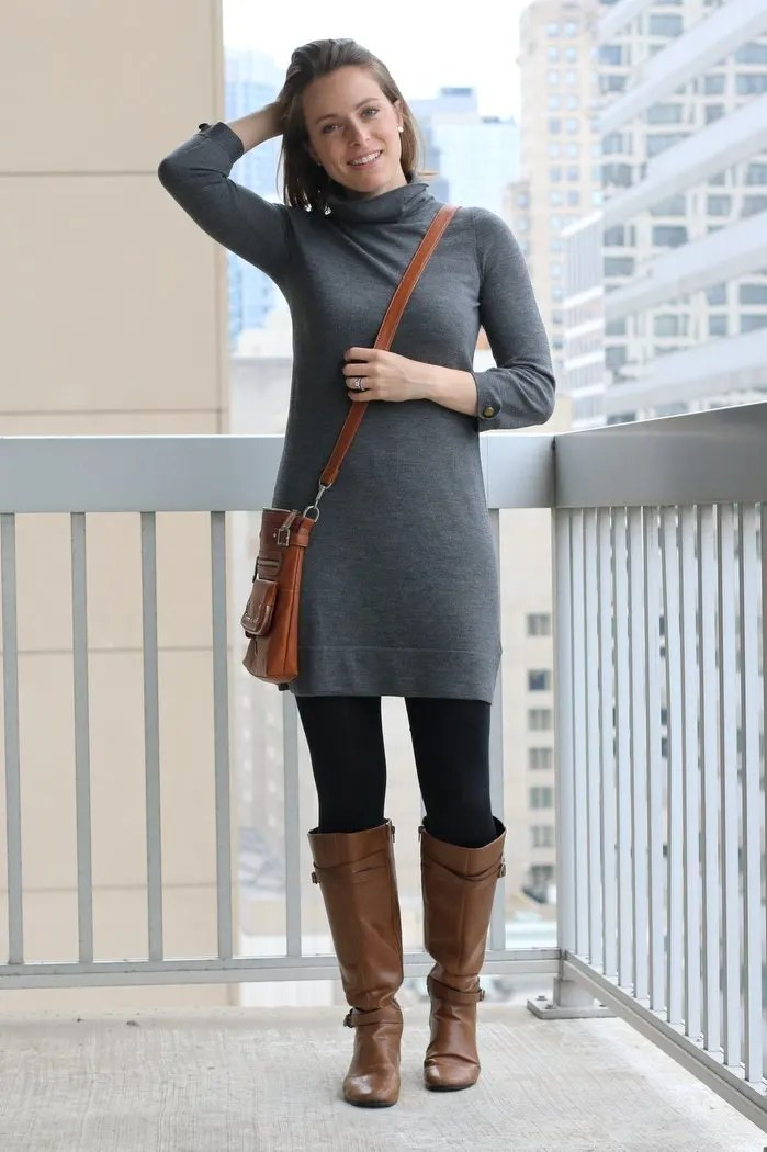 FashionablyEmployed.com   Thrifted gray sweater dress, black tights, cognac boots and crossbody bag   Simple and sustainable style for everyday professional women   wear to work style, office outfit ideas, women's workwear