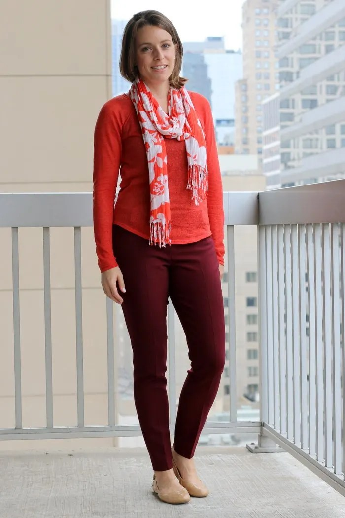 FashionablyEmployed.com | A few looks at orange, olive and burgundy fall style for work and for weekend, casual | Simple and sustainable style for everyday professional women | work wear style, office attire