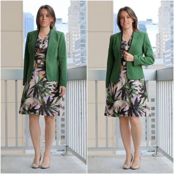 FashionablyEmployed.com | Green blazer with floral dress for the office | Simple and sustainable style for everyday professional women | wear to work, office style, women's work wear