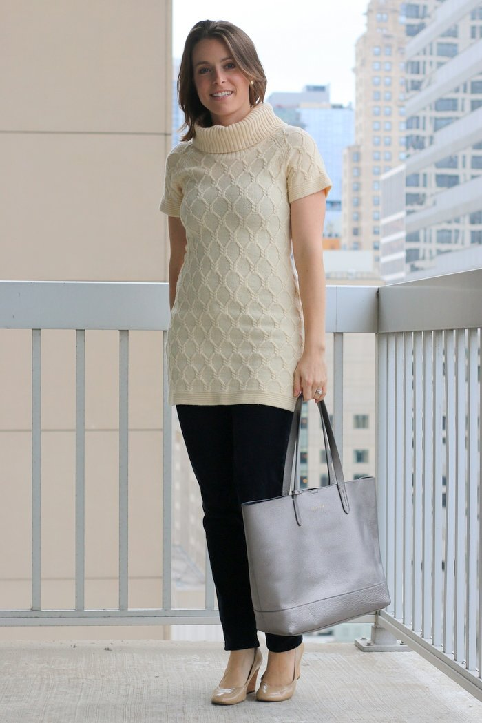 FashionablyEmployed.com | Work to Weekend Cable Knit Sweater | thrifted cableknit sweater with corduroys and heels or boots | Simple and sustainable style for everyday professional women | wear to work, office style, work outfit