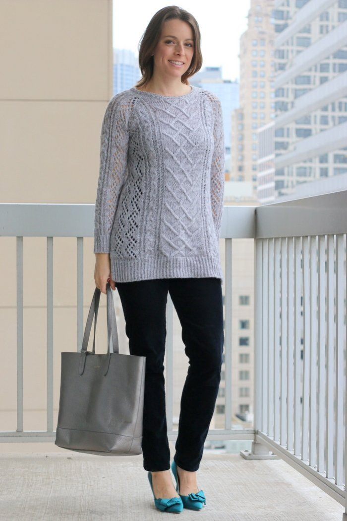FashionablyEmployed.com | Gray thrifted cableknit sweater with thrifted navy corduroy pants and teal heels | casual Friday at the office | Simple and sustainable style for everyday professional women | wear to work style, office outfit, workwear