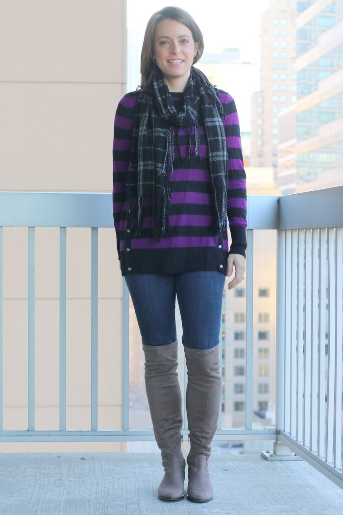 FashionablyEmployed.com | Purple and black stripes with jeans and over-the-knee boots and plaid scarf | Simple and sustainable style for everyday professional women | work wear, wear to work, office style, womens' style