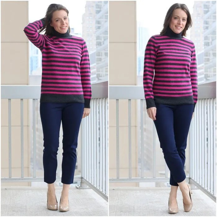 FashionablyEmployed.com | Thrifted striped cashmere sweater and navy cropped pants with nude heels to wear to work| Simple and sustainable style for everyday professional women | work wear, office style
