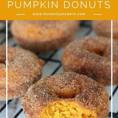 Simple Cinnamon & Sugar Pumpkin Donuts