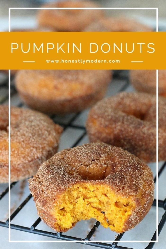 Easy Baked Pumpkin Donut with Cinnamon and Sugar, breakfast, dessert, recipe