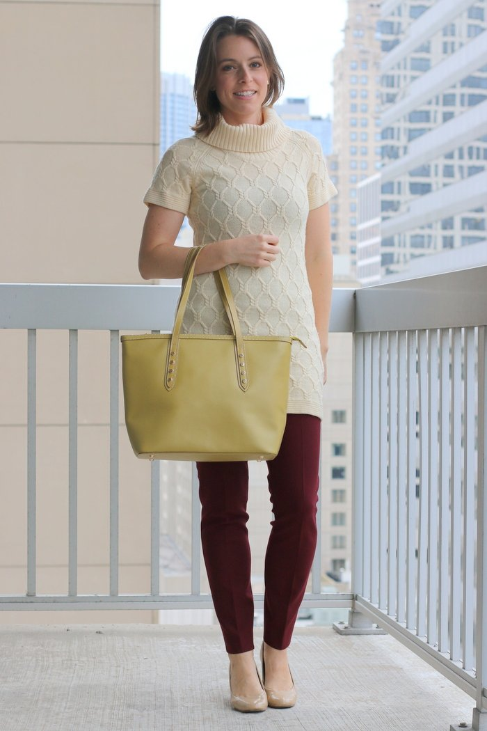 FashionablyEmployed.com   Cream thrifted tunic sweater, burgundy pants, green bag and nude heels   Simple and sustainable style for everyday professional women   work wear, office style
