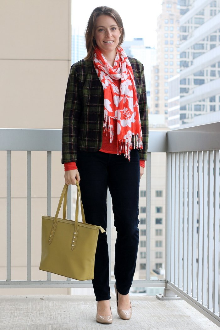 FashionablyEmployed.com | Navy thrifted corduroys, orange shirt, plaid thrifted blazer, nude heels, green bag and scarf | Simple and sustainable style for everyday professional women | work wear, office style