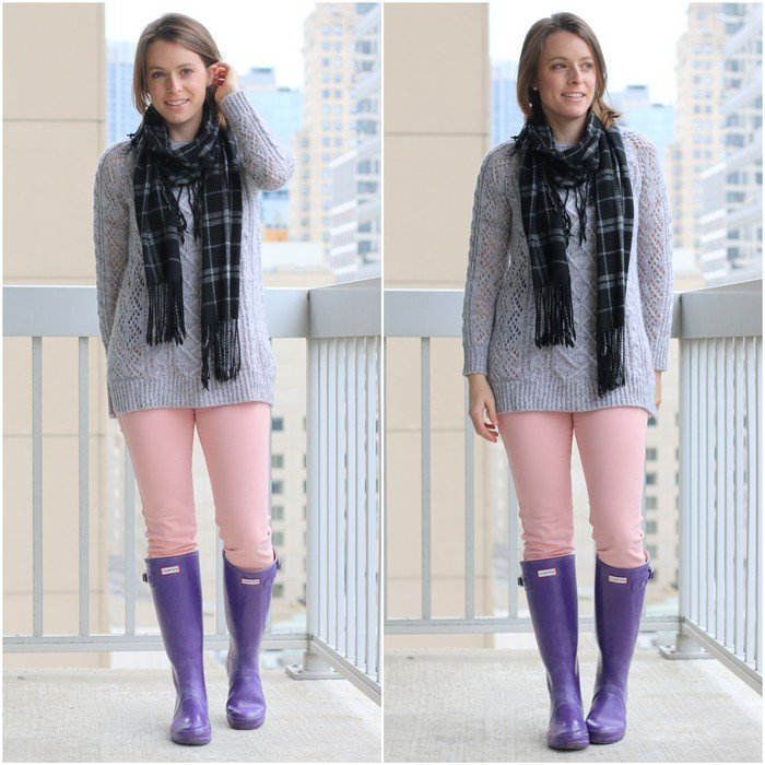 FashionablyEmployed.com | Thrifted gray cable knit sweater with pink Cabi jeans and purple Hunter boots, casual pastel winter style for weekend, errands | Simple and sustainable style for everyday professional women | work wear, office style