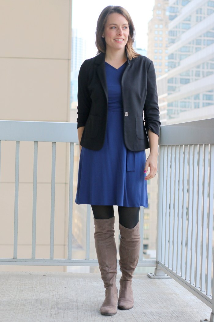 How to wear black and blue together | Blue Of Mercer wrap dress with black blazer, black tights and over the knee taupe boots | wear to work, women's office style | FashionablyEmployed.com