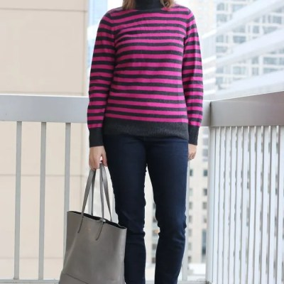 Casual Friday: Pink & Gray Stripes