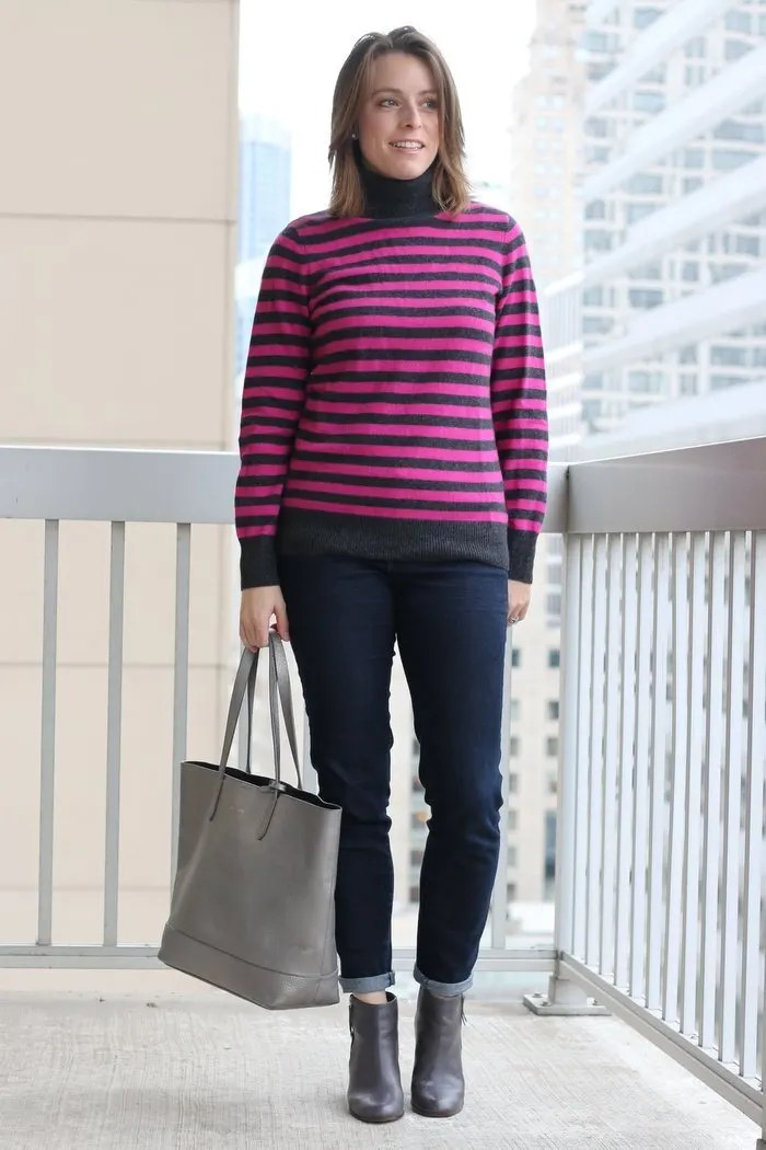 Easy casual Friday outfit: thrifted striped cashmere sweater with thrifted jeans, Cole Haan ankle boots and a Cole Haan tote bag | FashionablyEmployed.com | Simple and sustainable style for modern professional women
