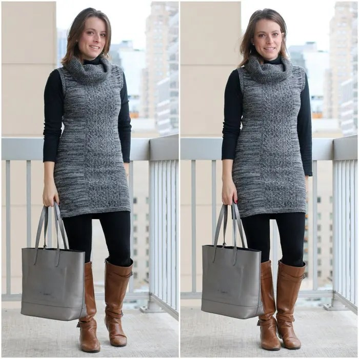 FashionablyEmployed.com | Gray sweater dress over black turtleneck with black tights and cognac boots | Simple and sustainable style for everyday professional women | wear to work, office style, winter style