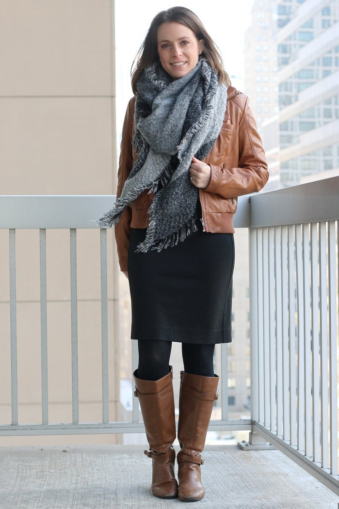 FashionablyEmployed.com | Work Wear Remix: Gray sheath dress with cognac boots, cognac faux leather jacket and gray blanket scarf | Start with a neutral investment piece as the base of an outfit to maximize remixing options and make the most of your work wear wardrobe