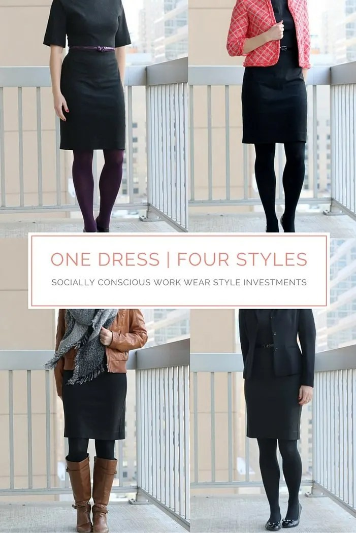 FashionablyEmployed.com | Work Wear Remix: One Investment Dress x Four Ways | Start with a neutral investment piece as the base of an outfit to maximize remixing options and make the most of your work wear wardrobe