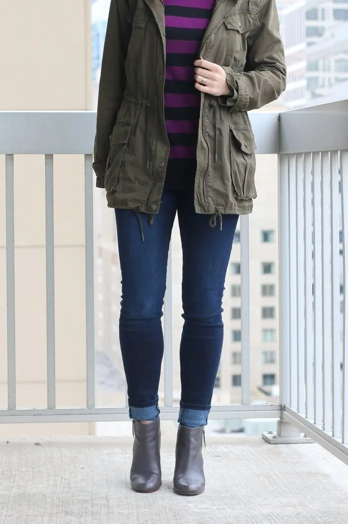 Perfect casual Friday style for working moms | Thrifted jeans, ankle boots, anorak and sweater for a crisp day | work wear, casual style