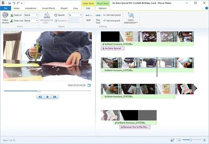 2-Windows Movie Maker Video Edit Tools