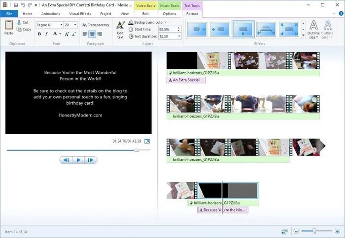 4-Windows Movie Maker Text Edit Tools