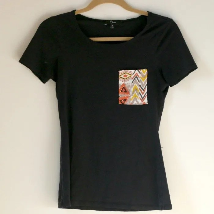 black tshirt DIY after with accent pocket