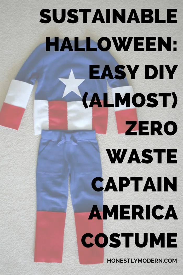 Make Halloween a little easier with this easy DIY Captain America costume any beginner can make. They're almost zero waste and will be useful long after trick-or-treating. Click through to check out the step-by-step tutorial.