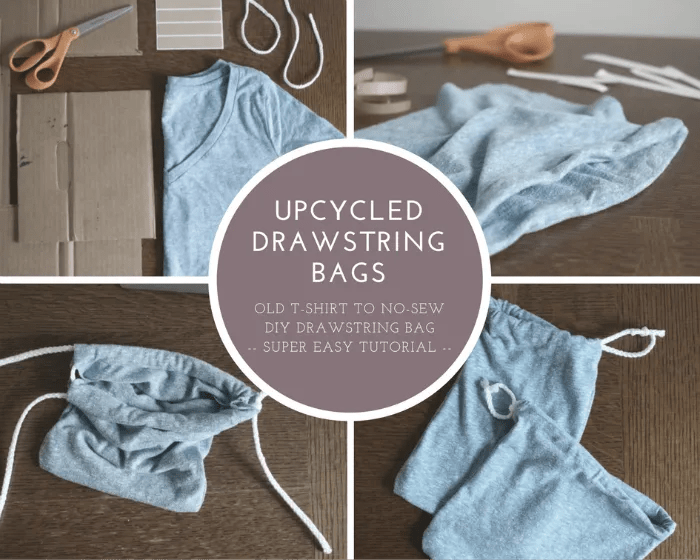 Repurpose an old t-shirt into a No-Sew Super Easy Upcycled Drawstring Bag. It's super simple and you can finish in less than 30 minutes. Check it out now and put your old t-shirts to good use!