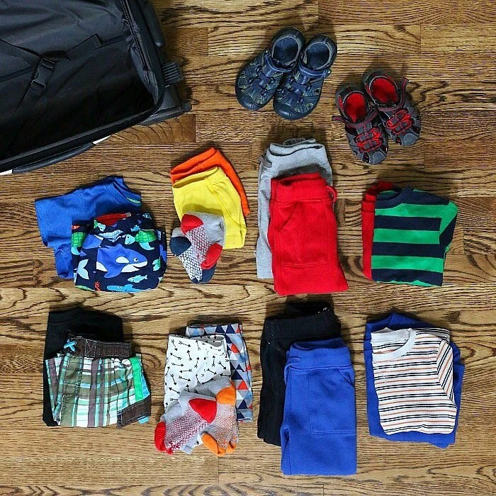 Here's a simple and minimal packing list for an overnight trip to an indoor waterpark with young children.