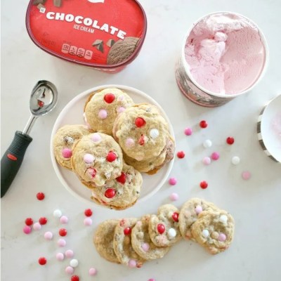 Valentine's Day Strawberry Ice Cream M&M Cookie Sandwiches