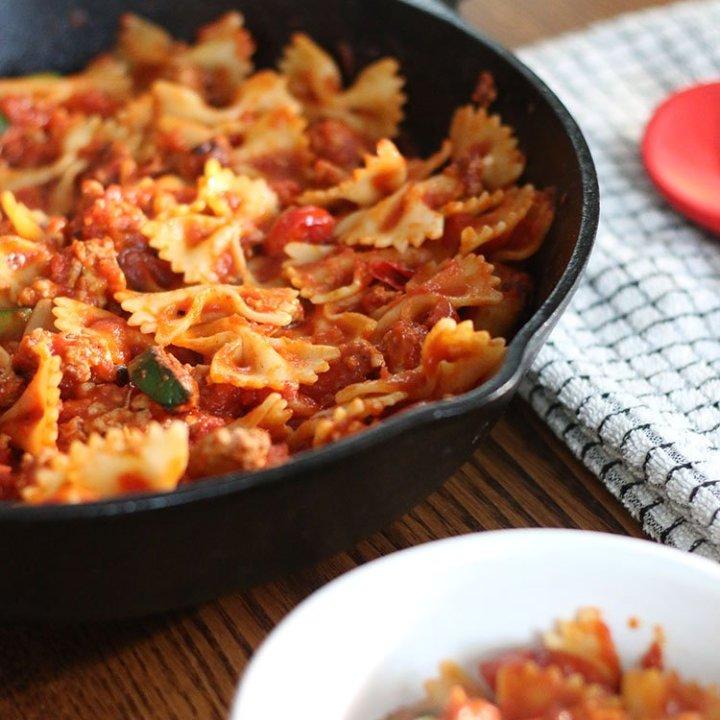 Turkey, Zucchini and Tomato Pasta