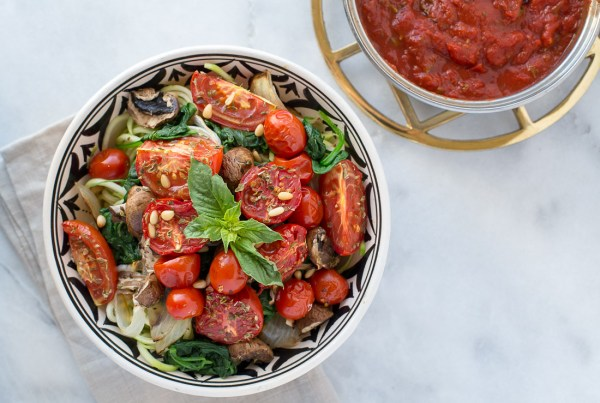 Zucchini Noodles with Roasted Vegetables and Spicy Marinara