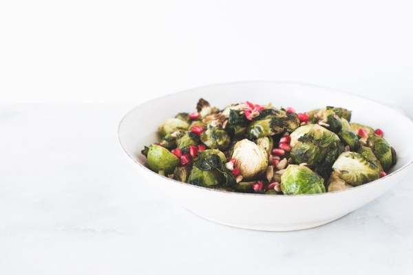 Roasted Dijon Brussels Sprouts with Pomegranate Sprinkles and Toasted Sunflower Seeds