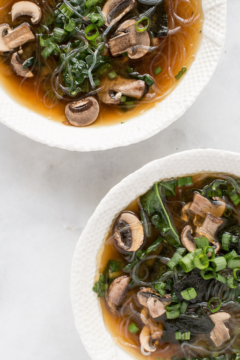 An easy and light miso soup with iodine-rich sea vegetables, leafy greens, and mushrooms. One bowl and you'll feel like a new person, truly! | Honestly Nourished