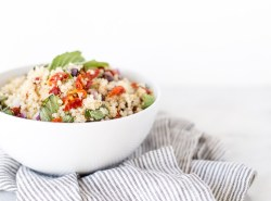 A simple, healthy, versatile sun dried tomato basil quinoa salad with lemon garlic vinaigrette that's packed with plant-based protein. GF + DF + vegan + vegetarian | Honestly Nourished