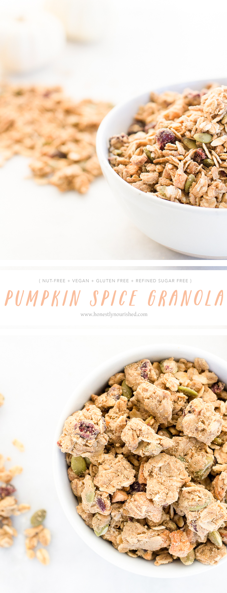 A nut-free pumpkin spice cranberry apple granola full of mega clusters galore!  It's also full of seasonal fall fruits (dried apples and cranberries), pumpkin seeds, and toasted coconut for a healthful balanced snack, breakfast or froyo topping.the-go snacking to boot!