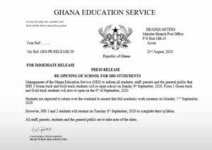 Document on September 6 reopening of Schools Fake - GES 1
