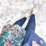 Todays ootd details Spring florals vegan leather and cold toeshellip
