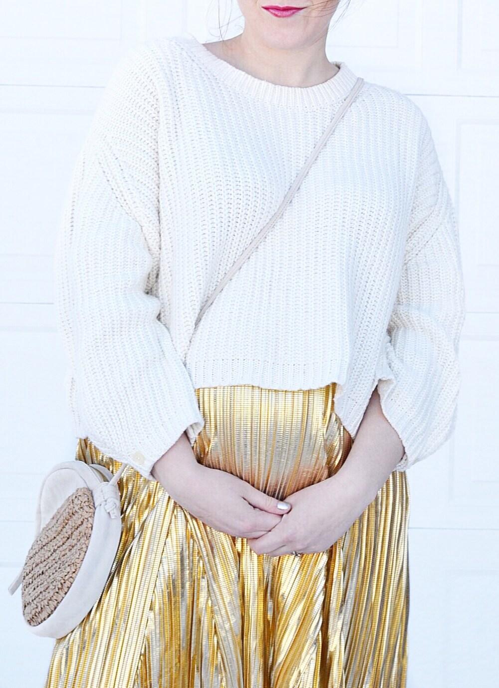 Gold Skirt Pregnant gender reveal blog announcement