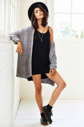 LBD tank dress with grey sweater and felt hat